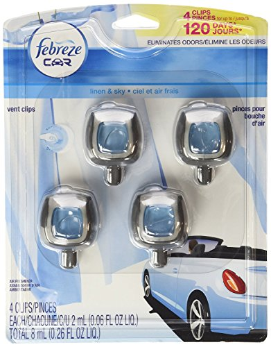 Febreze Car Vent-Clip Air Fresheners - 4 Pack (Linen & Sky) Pack of 80 by Febreze