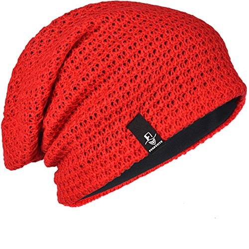 FORBUSITE Mens Slouchy Long Oversized Beanie Knit Cap for Summer Winter B08 (Red) for $<!--$8.99-->