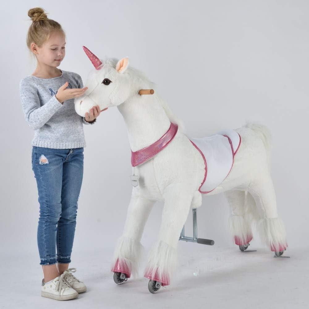 UFREE Caballo, Pony de Juguete mecánico, para cabalgar, extraordinario Regalo para niños a Partir de 6 años y Adultos, Grande, Altura de 110 cm (Unicornio con Cuerno Rosado)