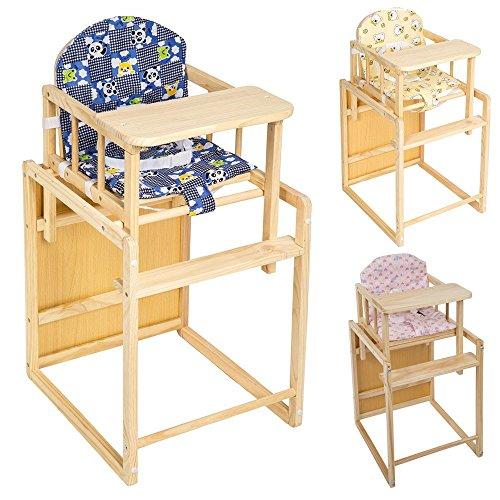 TecTake Kinderhochstuhl Kombihochstuhl Hochstuhl Babyhochstuhl Holz Baby Stuhl + Tisch 2 in 1 Kombination - diverse Farben - (Blau)