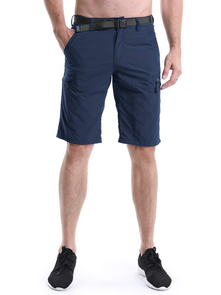 OCHENTA Men's Outdoor Expandable Waist Lightweight Quick Dry Shorts Blue 38
