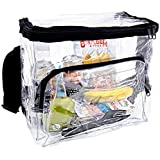 CHM Large Clear Lunch Bag Lunch Box with Adjustable Strap and Front Storage Compartment