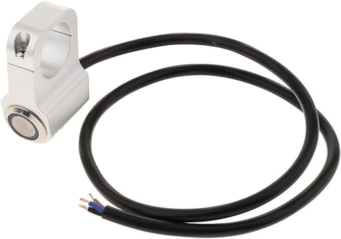kesoto DC 12v 10A /Étanche Moto CNC Alliage Interrupteur Brouillard Spot Lumi/ère Bouton on//Off avec Indicateur Fit pour 1 Pouce 25mm Guidon Chrome Bleu