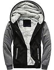Yeokou Men's Thick Sherpa Lined Full Zip up Fleece Hoodie Sweatshirt Winter Coat