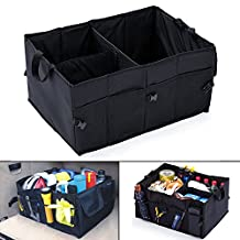Mookis Folding Trunk Organizer, Premium 3 Compartments Cargo Storage Container Sturdy Bag Bin with Multiple Pockets for Car Trunk SUV Minivan [BONUS: 2 Reinforced Base Plates Included]