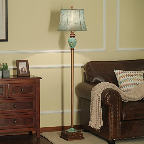LampRight Classic European Country Style Hand Painted Retro Floor Lamp 64 inch - Traditional Elegant Resin Base with High Grade Embroidery Chameleon Imitation Silk Fabric Lampshade by Lamp Right (Image #3)