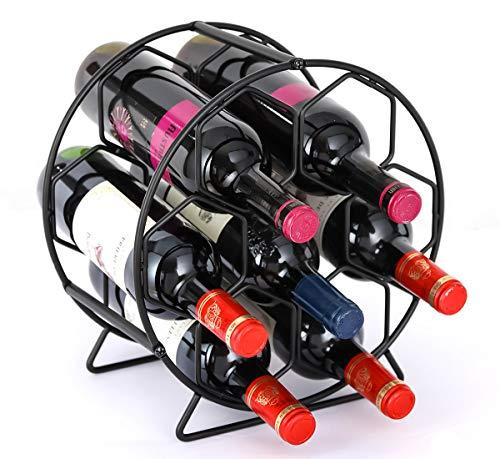 PAG 7 Bottles Free Standing Countertop Metal Wine Rack Tabletop Wine Storage Holders Stands, Black (Holders Metal Bottle Wine)