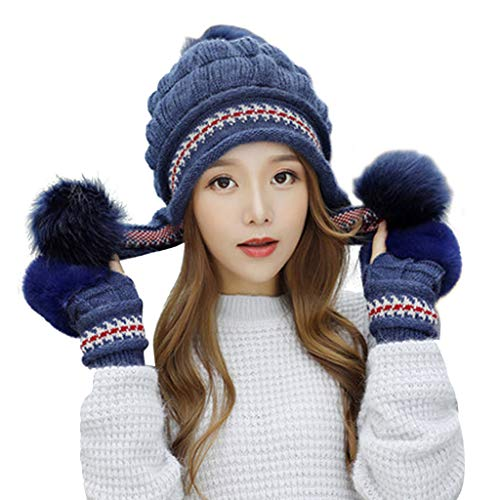 (Autone 2in1 Women Knitted Hat with Hairy Gloves,Winter Thicken Chunky Knitted Earflap Hat with Gloves Jacquard Striped Rabbit Fur Beanie Cap Pompom Ball Fingerless Mittens)