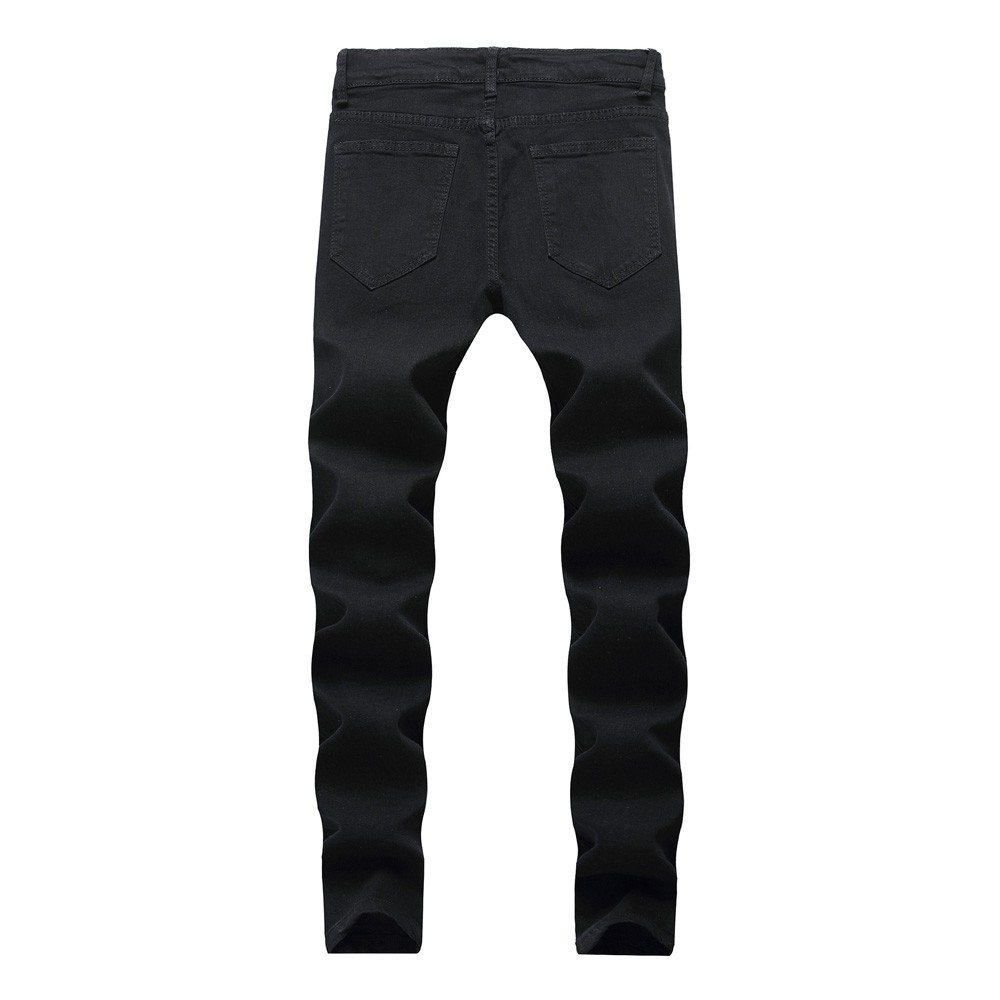 VonVonCo Mens Ripped Slim Fit Motorcycle Holes Denim Jeans Zipper Streetwear Pants