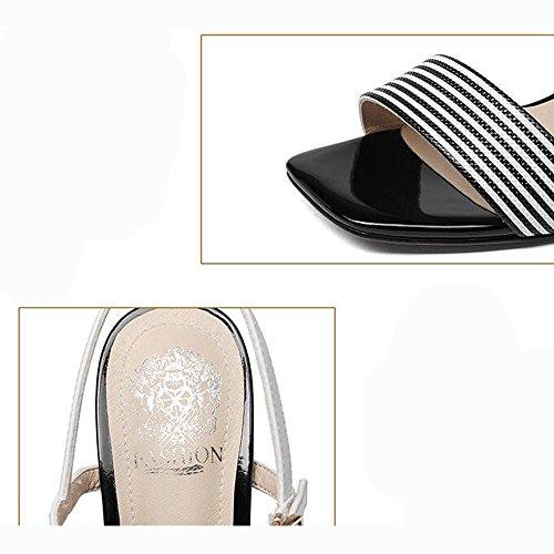 Pelle Teste Nero in da Fibbie Donna Tacco Tacchi 34 Punta Moda Sandali Righe quadrate Aperta Colore Donna Dimensioni Scarpe wAqtxaga