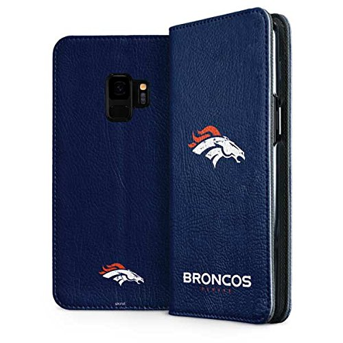 Skinit Denver Broncos - Distressed Galaxy S9 Folio Case - Officially Licensed NFL Phone Case Folio - Faux-Leather Wallet Galaxy S9 Cover