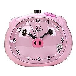 Cartoon Pig Desk Alarm Clocks Cute Frog-Shaped Pig Clock For Children With Night-Light (Pink)