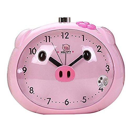 Cartoon Pig Desk Alarm Clocks Cute Frog-Shaped Pig Clock For Children With Night-Light (Pink) (Frog Desk Clock)