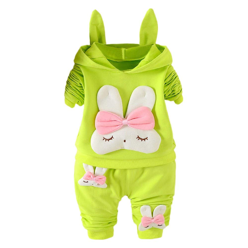 Fartido Baby Girl Long Sleeve Rabbit Print Hooded Pullover Tops+Pants 2Pcs Set (Green, 18-24 Months)