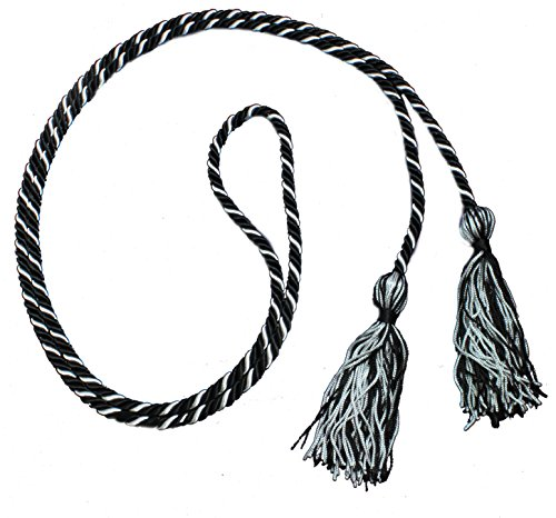Two-color Braided Honor Graduation Cords (Black&Silver-mixed tassel)