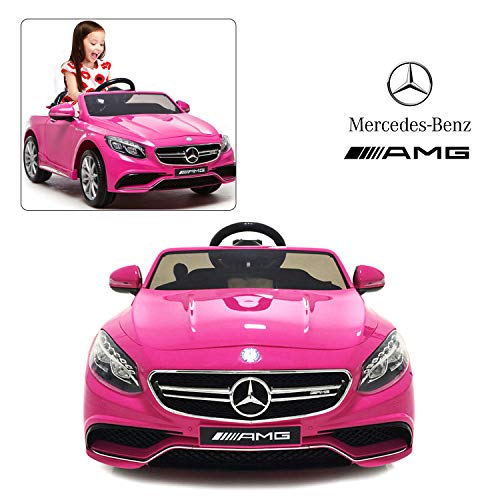 Official Licensed Mercedes Benz Ride On Car With Remote Control For Kids | 12V Power Battery AMG S63 Kid Car To Drive With 2.4G Radio Parental Control Pink -