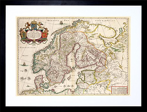 (9x7 INCH MAP ANTIQUE SCANDINAVIA NORWAY SWEDEN FINLAND FRAMED WALL ART PRINT PICTURE PAINTING WOODEN PHOTO FRAME BLACK WHITE OAK BROWN F97X509)