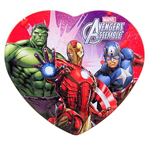 Marvel Avengers Assemble Valentines Day Heart Tin with Lollipops, 2.25 oz (Valentines Day Marvel Box compare prices)
