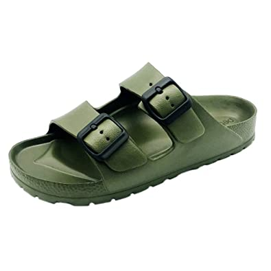 Women's Open Toe Waterproof Slip On Flat Slide Sandals   Double Adjustable Buckle Straps   Eva Material And Odor Resistant Footbed With Arch Support   Flexible And Lightweight Synthetic Midsole by Pebbles Shoes