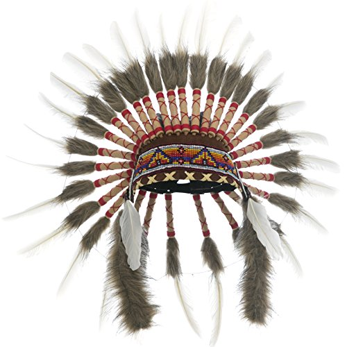 KIDS SIZE Feather Headdress - Adjustable - Native American Inspired - Classic (Kids Classic Indian Boy Costumes)
