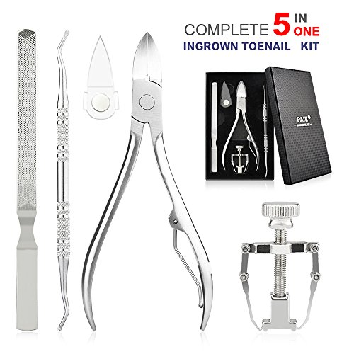 - 5PCS Ingrown Toenail Tool Kit Stainless Steel Ingrown Toe Nail File and Lifter, Toenail Clipper Correction Remover Tool Ingrown Toenail Treatment Pedicure Manicure Tools with Portable Box