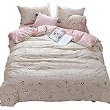 HIGHBUY 3 Piece Full Bedding Sets Pink Love Heart Cat Print Kids Queen Duvet Cover Set for Girls Women Soft Cotton Kitten Comforter Covers for Bedding Collection Full Zipper Closure