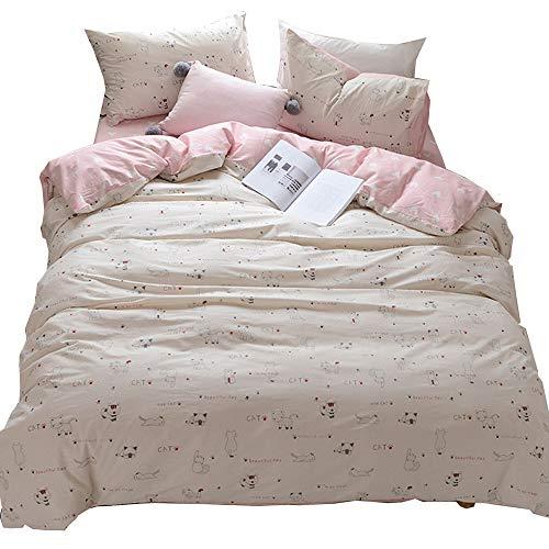 (HIGHBUY 3 Piece Teens Bedding Sets Twin Love Heart Cat Print Kids Duvet Cover Set for Girls Women Soft Cotton Kitten Pattern Comforter Covers for Bedding Collection Twin Set Zipper Closure)