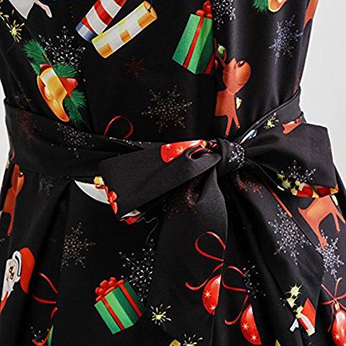 FeeLice Damen Weihnachten Kleid Ärmellos Rockabilly Kleid mit ...
