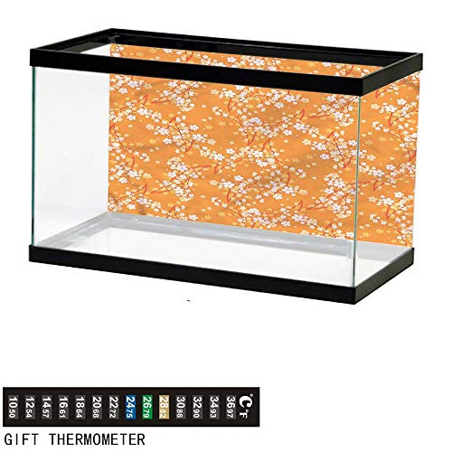 bybyhome Fish Tank Backdrop Floral,Vivid Blooms Spring Tree,Aquarium Background,48