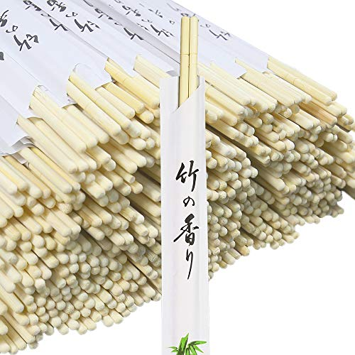 """Monpearl Disposable Chopsticks 300 Pairs 8.8"""" Natural Bamboo Chopsticks Sleeved and Separated Easy to Hold"""