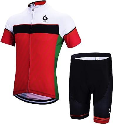 Gwell - Conjunto de culote y maillot de manga corta para hombre, con badana, equipación para ciclismo, Todo el año, Hombre, color rojo, tamaño XXL: Amazon.es: Ropa y accesorios