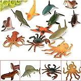 12PCS Plastic Marine Animal Figures Ocean Creatures Shark Whale Crab Kids Toy