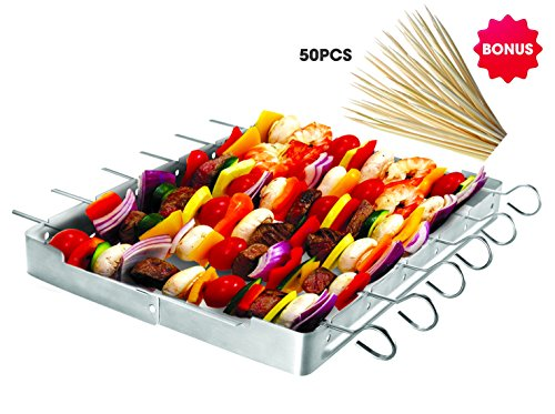 Unicook Heavy Duty Stainless Steel Barbecue Skewer Shish Kabob Set, 6pcs Skewer Sticks and Grill Rack Set for Meat & Vegetables, Bonus of 50pcs 12.5 inch Bamboo Skewers, No mess for Your Grill - Kabob Skewers