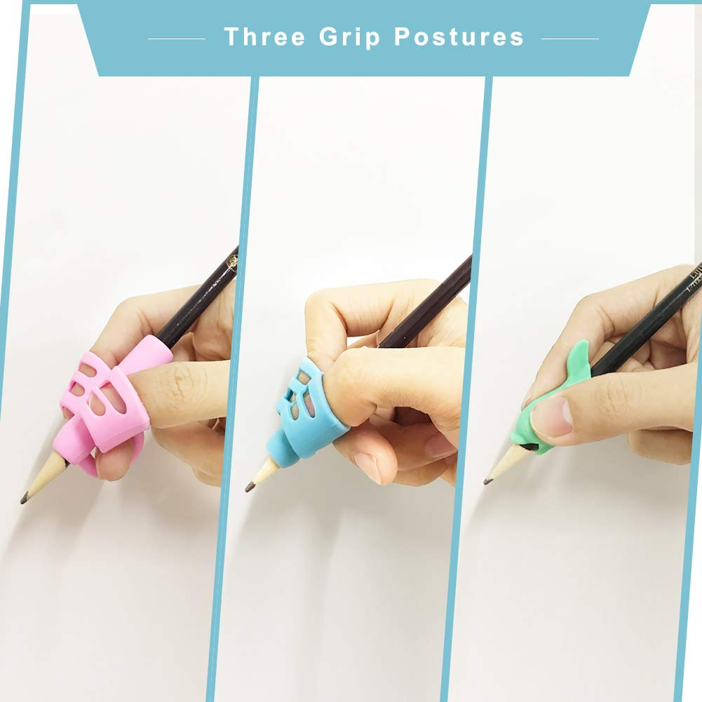 Gotega Pencil Grips, 100% Silicon Writing Aid Grips for Correct The Wrong Pen Holding and Sitting (8PCS) by Gotega (Image #3)