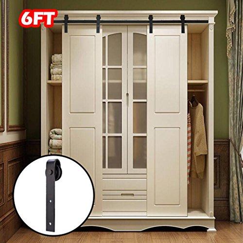 Cupboards Double Door (Artist Hand 6FT Mini Cabinet Barn Door Hardware Kit,Double Door Sliding Door Hardware Track Set, J Shape Hangers for Single Door, Cabinet, TV Stand, Closet,Wall Cupboard)