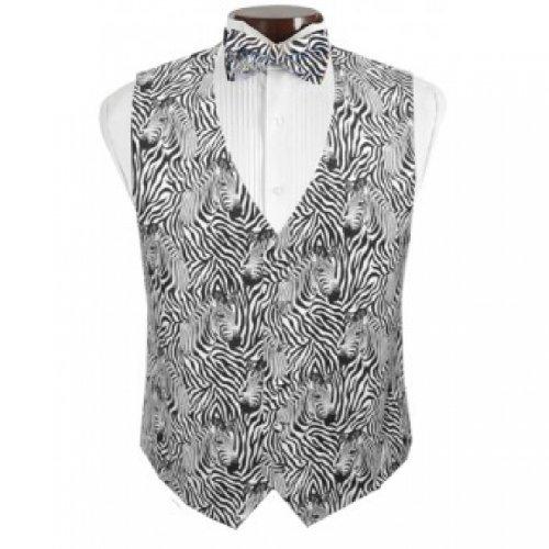 Zebra II Tuxedo Vest and Bow Tie Size Large
