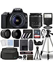 Canon EOS 250D / Rebel SL3 Digital SLR Camera Body w/Canon EF-S 18-55mm f/3.5-5.6 Lens 3 Lens DSLR Kit Bundled with Complete Accessory Bundle + 64GB + Flash+ Case & More- International Model