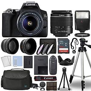 Canon EOS 250D / Rebel SL3 Digital SLR Camera Body w/Canon EF-S 18-55mm f/3.5-5.6 Lens 3 Lens DSLR Kit Bundled with…