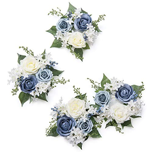 Gatton Dreamy Dusty Blue Style Artificial Flower Wreath Pack of 4 Floral Candle Rings for ding Ceremony Unity Candle and Sweetheart Table Centerpieces Decor | Model WDDNG - 2517 |
