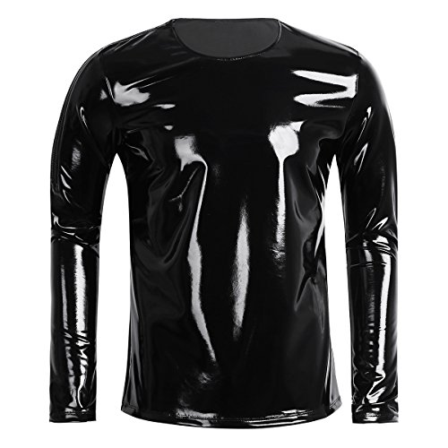 Pop Dance Costume (CHICTRY Men's Wetlook Leather Long Sleeve Zipper Shoulder T-Shirt Nightclub Hip Hop Pullover Top Black Large)