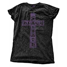 Black Sabbath T Shirt Vintage Cross Official Womens Black Skinny Fit Snow Wash