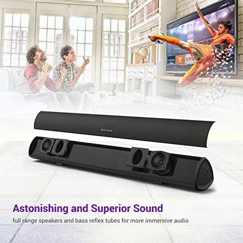 Sound Bar, Bestisan Soundbar for TV, Wired & Wireless Bluetooth 5.0 Speaker, Home Theater Surround Sound System (28 Inch, Infrad Remote Control, DSP, Bass Adjustable) 51d0Yw1qqpL