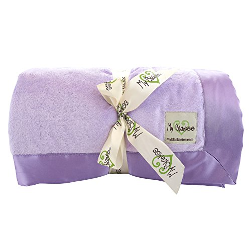 My Blankee minky solid twin blanket with flat satin border, lavender, 59 x 85