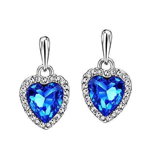 Ananth Jewels Embellished with Swarovski Blue Crystal Heart Drop Earrings For Women