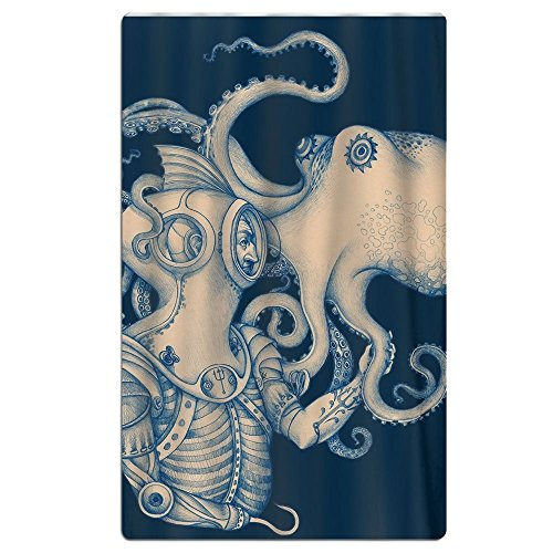 FSKDOM Oversized Beach Towel - Octopus Blue Kraken Nautical