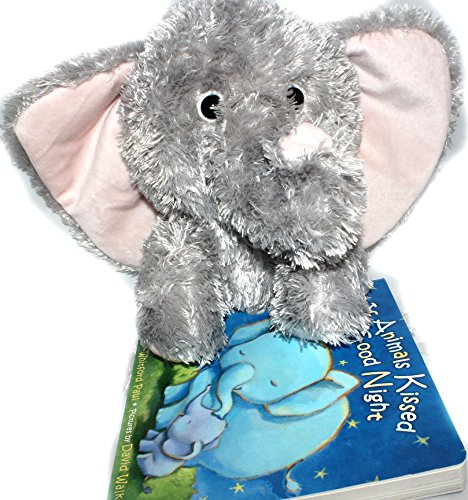 Grandkids Bedtime Bonding Stuffed Animal and Story Book Bundle - 2 items: Bino the Elephant Plush toy from Buddy Plush and If Animals Kissed Good Night Childrens (Super Scary Stuff)