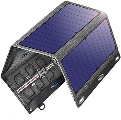 VITCOCO Cargador Solar Portátil, 29W Portatil Cargador Solar Panel Placa Plegable Impermeable Power Bank con 2 USB de Salida Puertos Smartphone, ...