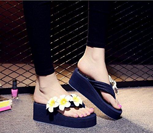 Donna Fondo trentotto pendenza Pantofole spesso Ajunr Antiscivolo flip flop tacco Fiori Alla Sandali di Moda Spiaggia 40 6cm Blu Il Da 0HggqEwB