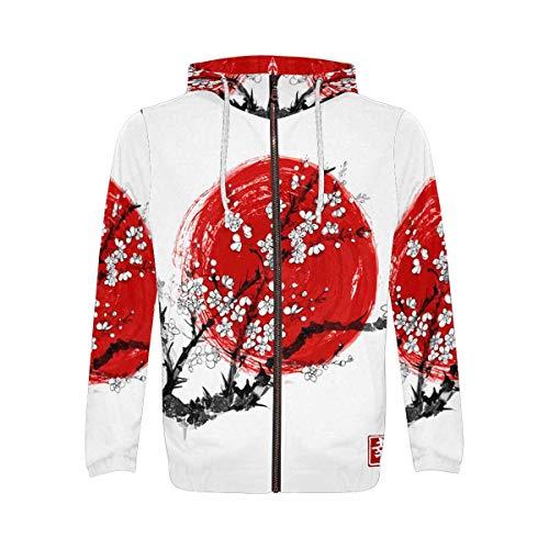 INTERESTPRINT Japanese Cherry Blossom Men's Full-Zip Zipper Hoodies Sweatshirt S ()