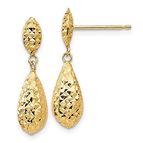 14k Yellow Gold Diamond-cut Puff Teardrop Dangle Earrings